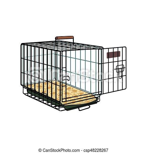 Enjaula de metal, jaula para mascotas, gato, transporte de perros - csp48228267
