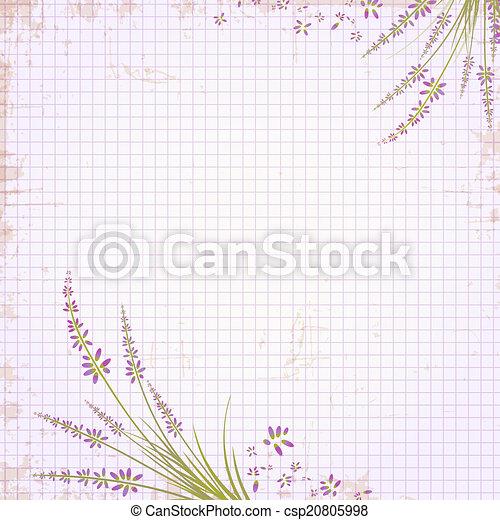 Un cuaderno de notas en una jaula con marco de lavanda - csp20805998