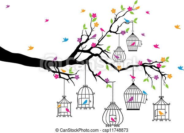 Árbol con pájaros y jaulas - csp11748873