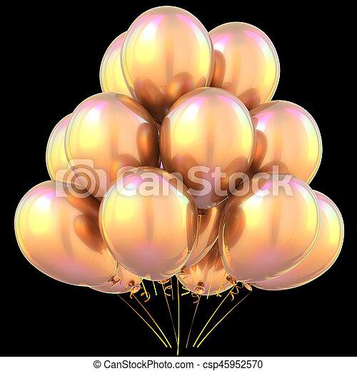 Jaune Or Décoration Anniversaire Noir Fête Ballons Heureux