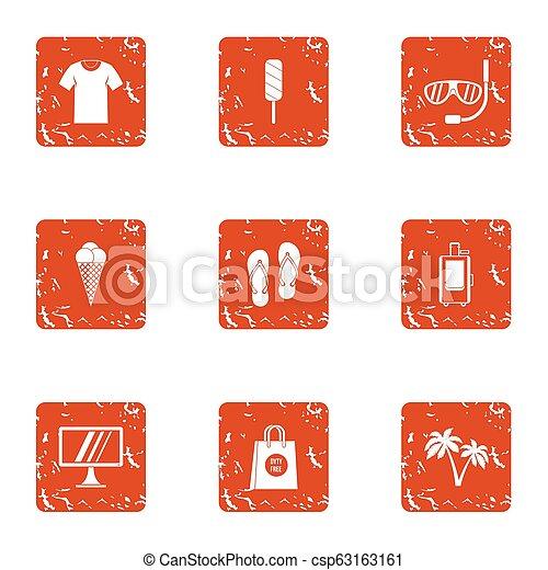 Jaunt icons set, grunge style - csp63163161