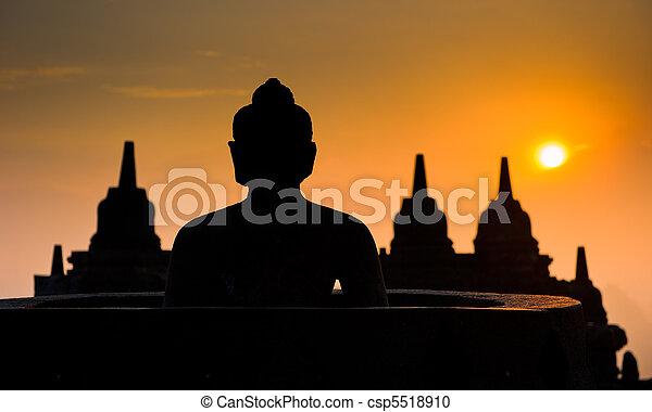 java, borobudur, indonésie, temple, levers de soleil - csp5518910