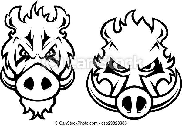 javali selvagem zangado cabeças personagem tatuagem cabeças