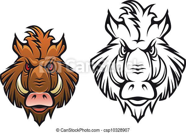 javali zangado mascote cabeça cor zangado variações esportes
