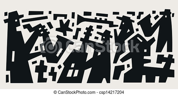 Jazz Band Abstract Vector Illustration Vector Clipart