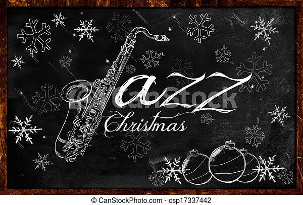Jazz Christmas music background - csp17337442