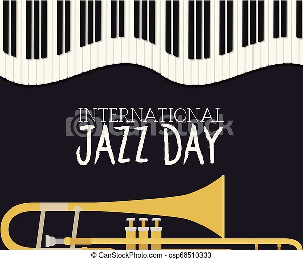jazz day poster with piano keyboard and trumpet - csp68510333