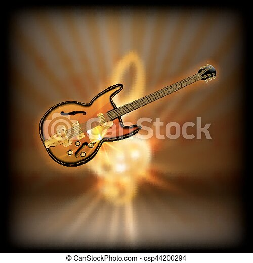 jazz guitar on a blurred background treble clef - csp44200294
