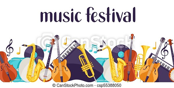 jazz music festival banner with musical instruments clipart vector rh canstockphoto com music instruments clipart pictures musical instrument clipart free