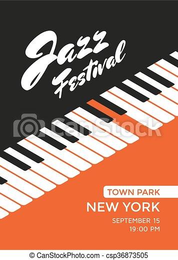 Jazz Music Festival Poster Design Template Piano Keys Vector Illustration Placard For Concert