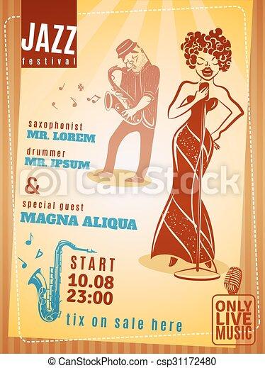 Jazz music festival vintage poster - csp31172480
