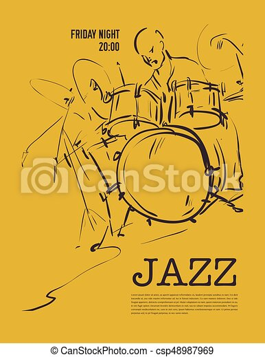 Jazz music party invitation design vector illustration clip art jazz music party invitation design csp48987969 stopboris Image collections