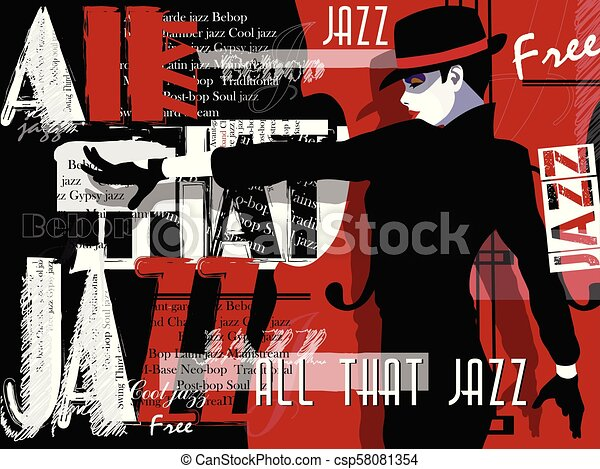 Jazz music, poster background template. - csp58081354
