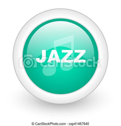 jazz music round glossy web icon on white background - csp41467640