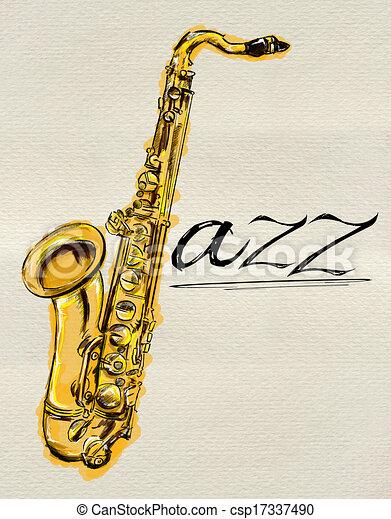 Jazz Saxophone Painting - csp17337490