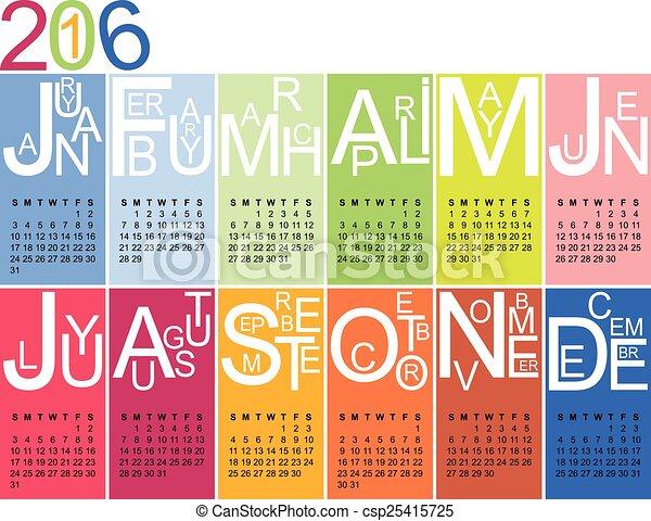jazzy calendar 2016 - csp25415725
