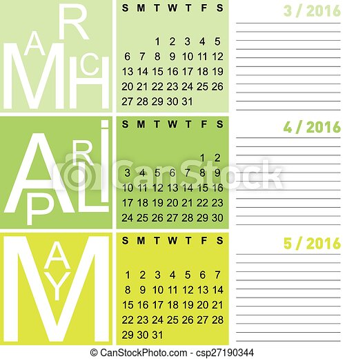 jazzy seasonal calendar spring 2016 including march april and may