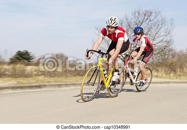 jeżdżenie, cykle, otwarta droga, rowerzyści - csp10348991