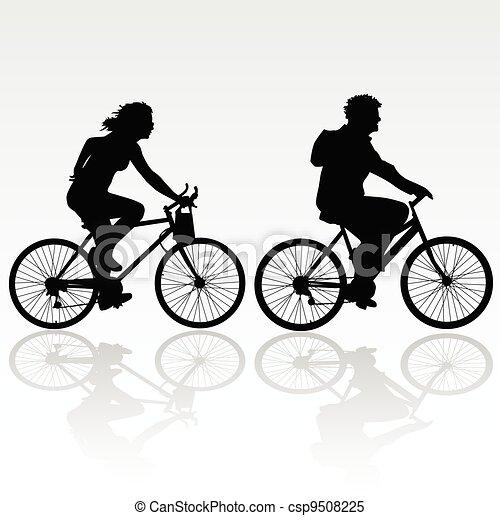 jeżdżenie, kobieta, rower, człowiek - csp9508225