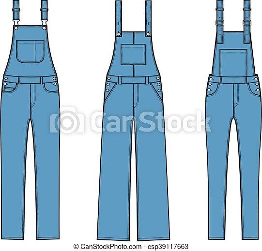 Jean overalls. Vector illustration of denim coverall. - photo#16