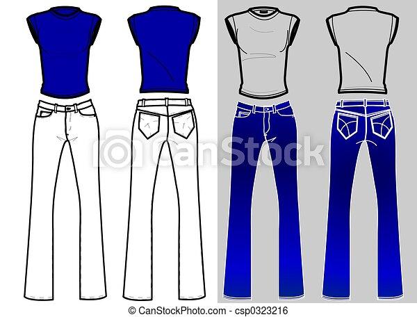 jeans, camicia, & - csp0323216