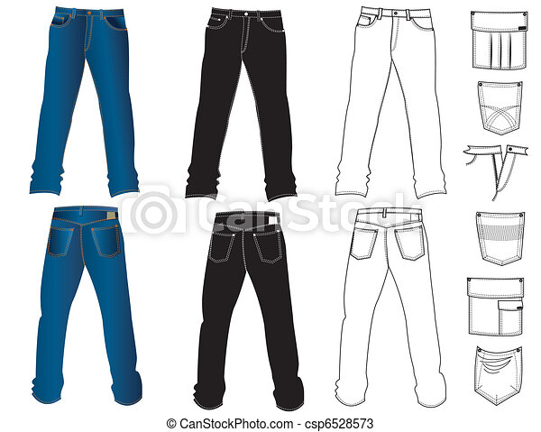 Jeans clothes on white.Vector - csp6528573