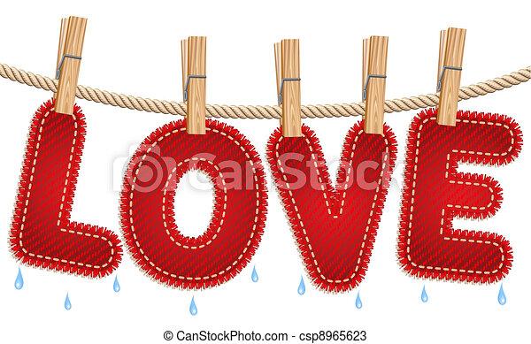 jeans, essiccamento, amore, clothesline - csp8965623