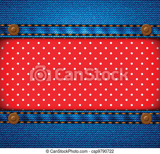 Jeans frame with polka dot patch - csp9790722