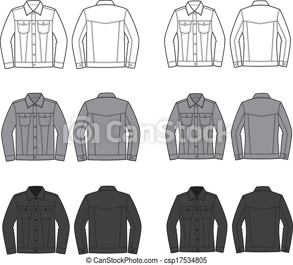 Jeans Jacket Vector Illustration Set Of Men S And Women S Jeans