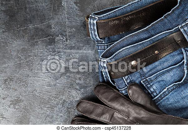 Jeans on dark background - csp45137228