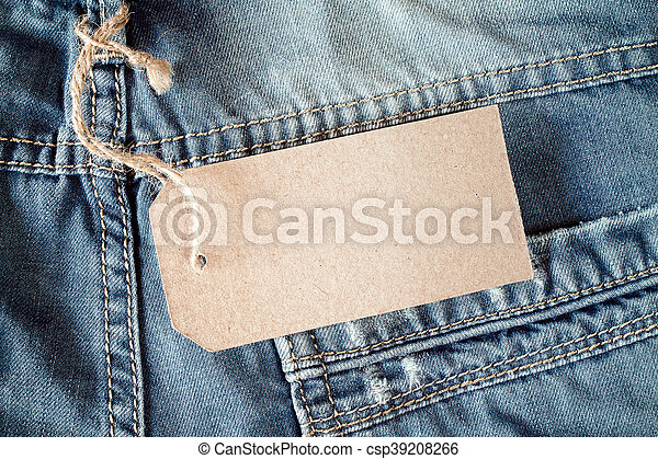 Jeans with blank tag - csp39208266