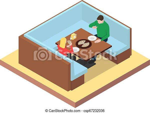jedzenie, pizza., posiedzenie, para, młody, stół - csp67232036
