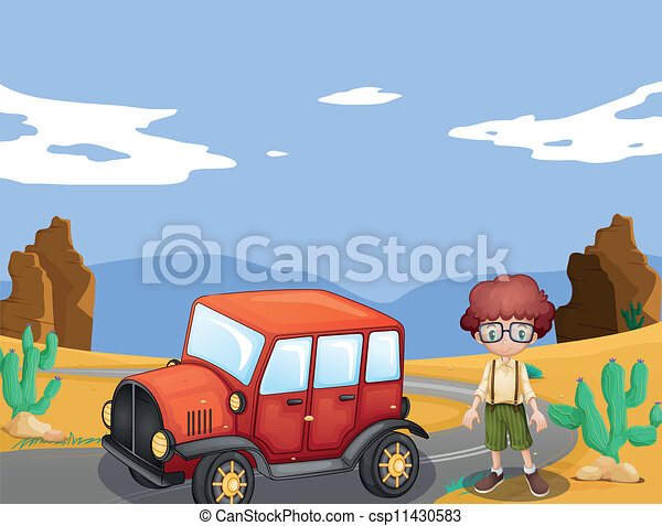 jeep and boy in nature - csp11430583