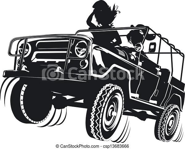 Jeep Ausführlich Silhouette Ausführlich Verfügbar Gruppen