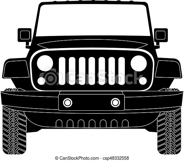 Jeep silhouette in front - csp48332558