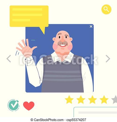 jego, graficzny, tworzenie sieci, datując, greeting., towarzyski, -, avatars, ilustracja, dziadek, umieszczenie., wektor, fale, portret, ręka, albo, człowiek - csp55374207