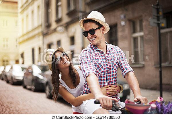 jego, rower, wpływy, sympatia, człowiek, ruina, przystojny - csp14788550