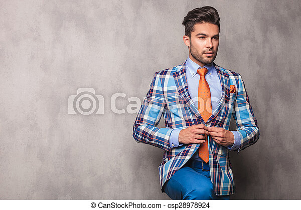 jego, zadumany, handlowy, jacket., młody, zamykanie, człowiek - csp28978924