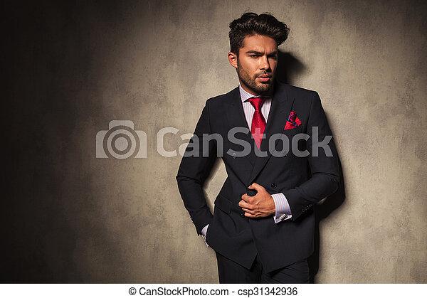 jego, zadumany, handlowy, otwarcie, młody, marynarka, człowiek - csp31342936