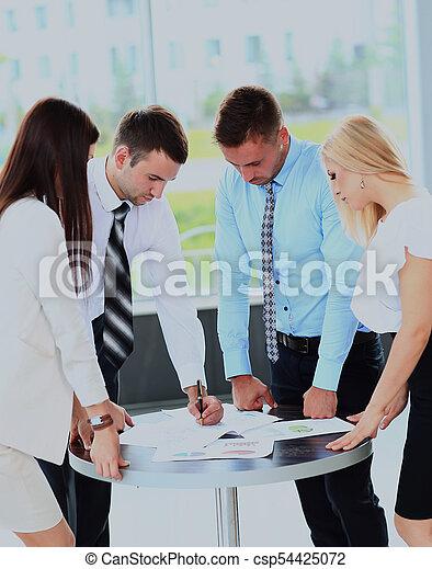 jeho, business potkat, běžet, -, správce, discussing, kolega. - csp54425072