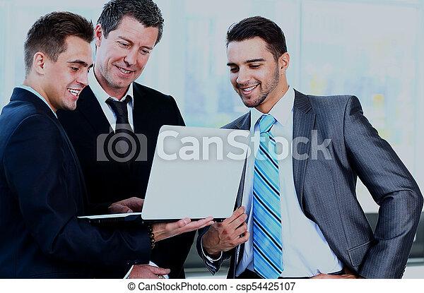 jeho, business potkat, běžet, -, správce, discussing, kolega. - csp54425107