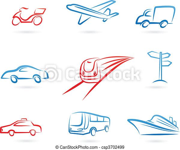 jel, szállítás, ikonok - csp3702499