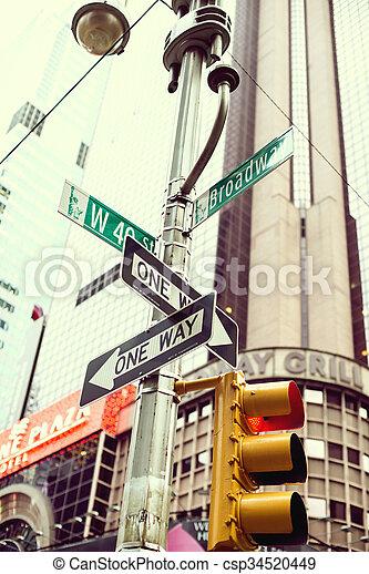 jelez, skyscraber, utca, háttér, manhattan, jellegzetes - csp34520449