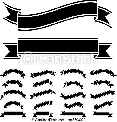 jelkép, fehér, vektor, fekete, szalag - csp8698000