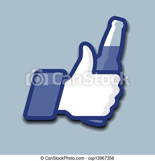 jelkép, feláll, sörösüveg, like/thumbs, ikon - csp13967356