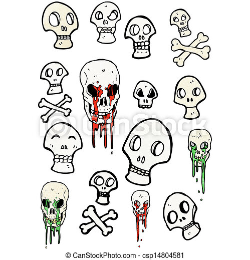 jelkép, kísérteties, karikatúra, koponya, gyűjtés - csp14804581