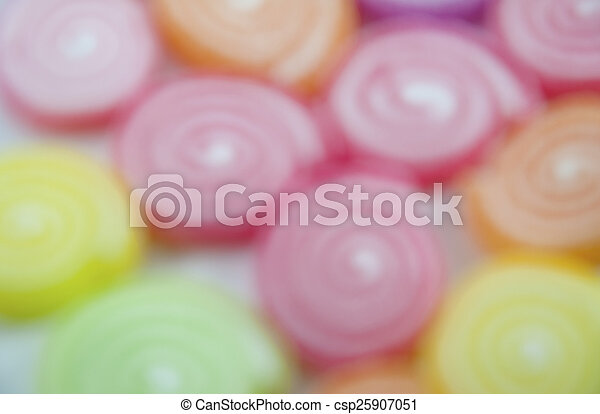 Jelly fruits on abstract background blur - csp25907051