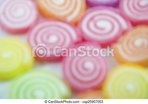 Jelly fruits on abstract background blur - csp25907053
