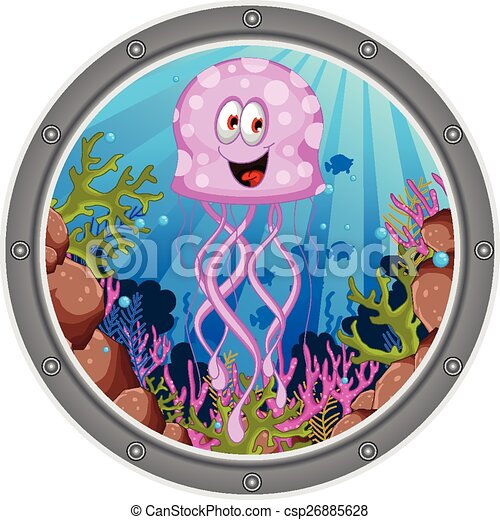 jellyfish cartoon - csp26885628