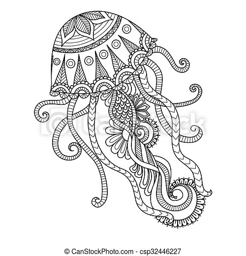 Jellyfish Coloring Page Jelly Fish Line Art Design For